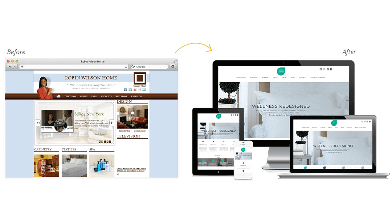 Robin Wilson Clean Website Design Before & After