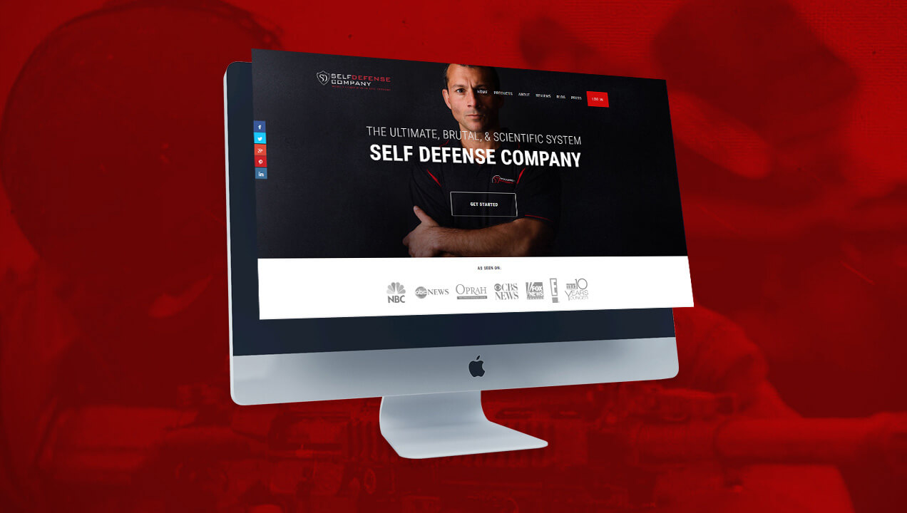 Self Defence homepage on a desktop computer