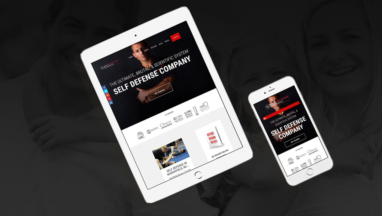 Self Defence website on tablet and mobile phone