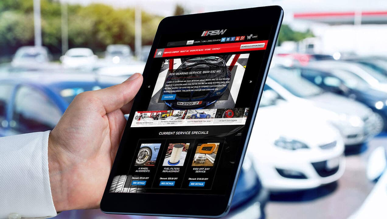 Redline Speed Worx website on tablet