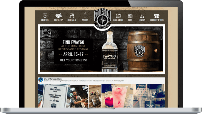 Custom website design for an alcohol distillery