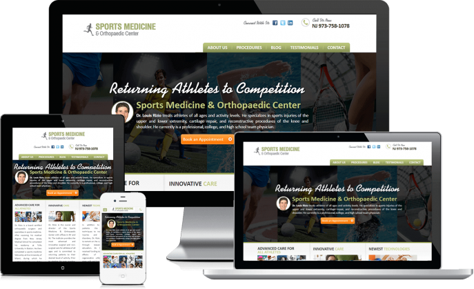 Custom website design for sports medicine