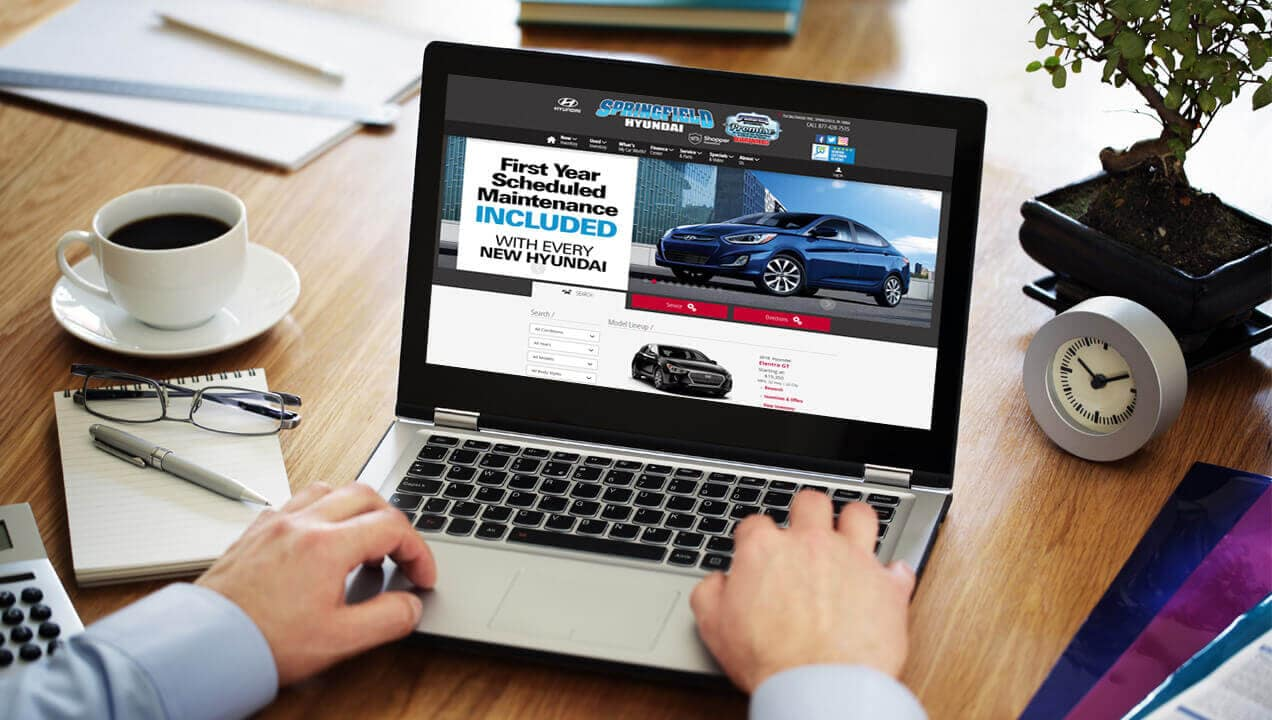 Springfield Hyundai new website on a laptop