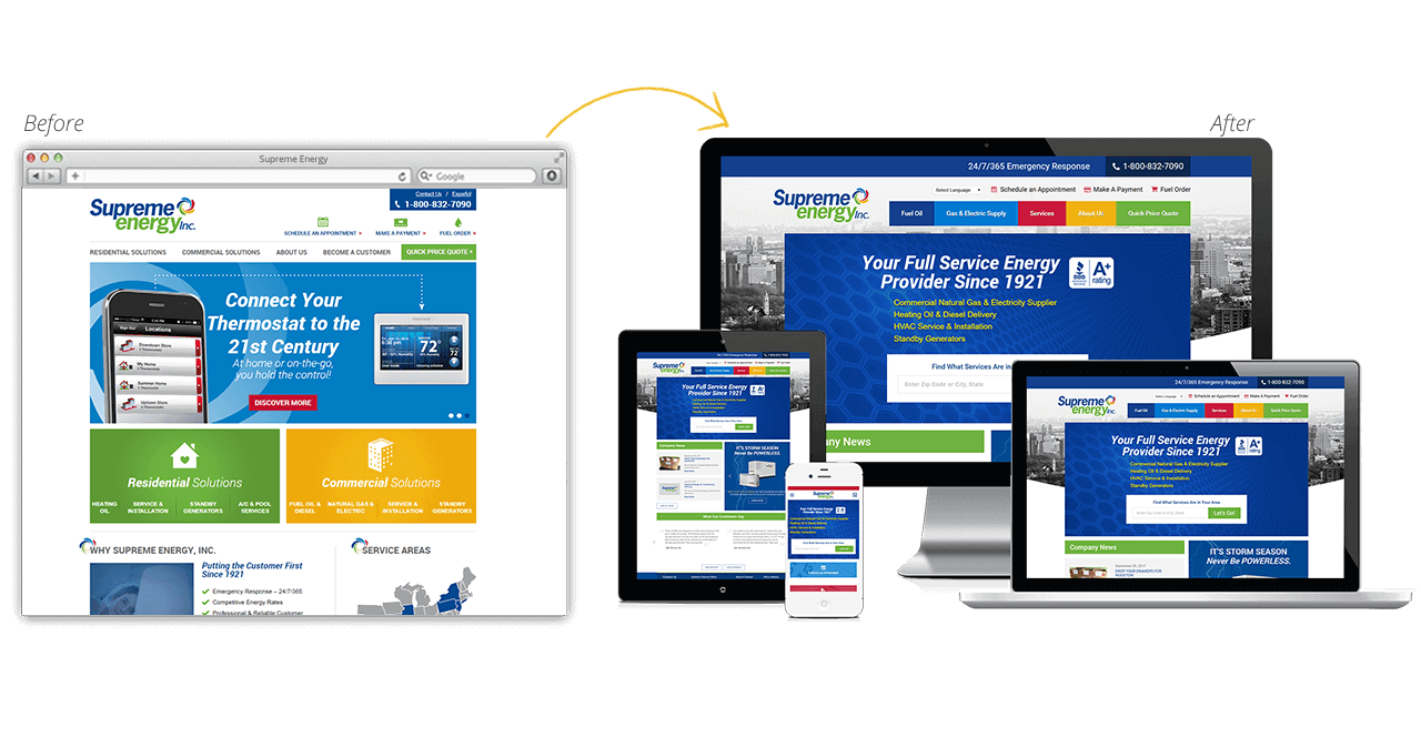 Supreme Energy Website Redesign Before After
