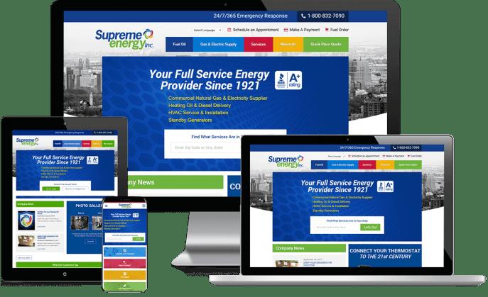 Custom website design for an energy supplier