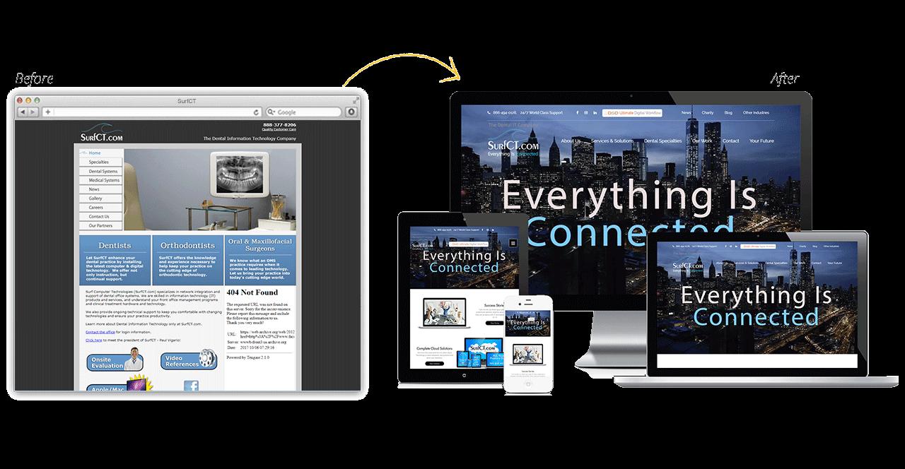 SurfCT Website Redesign Before After