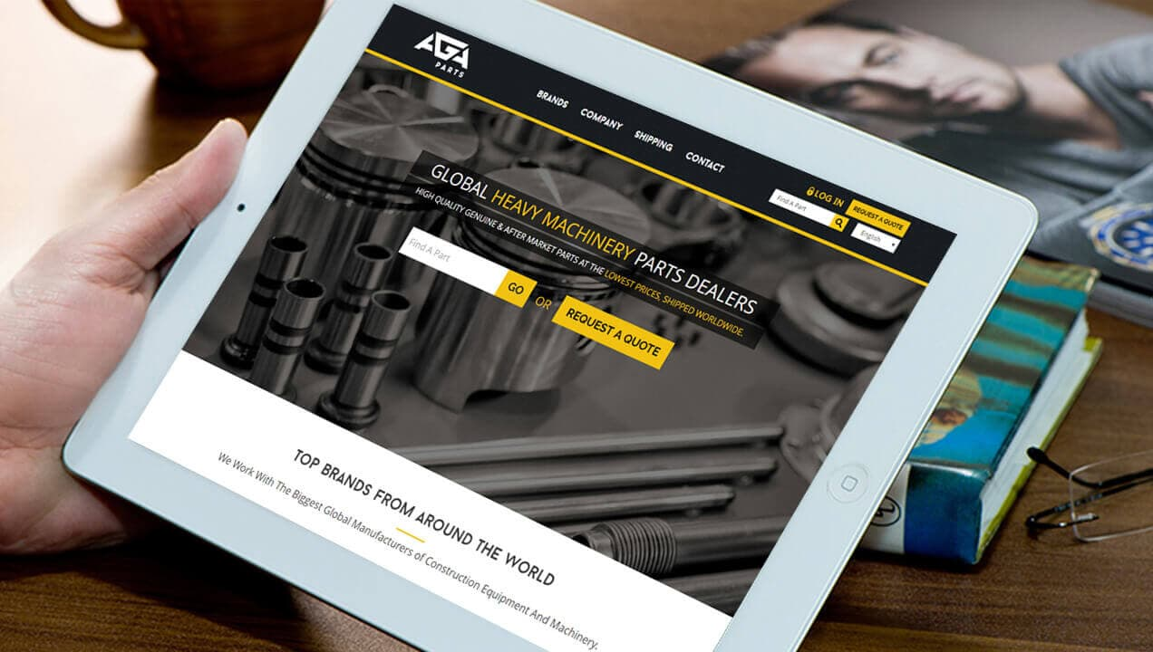 Aga Truck Parts website on a tablet