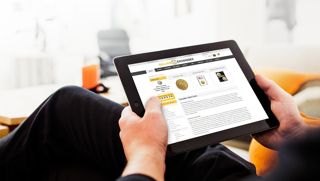 Bullion Exchanges website on a tablet