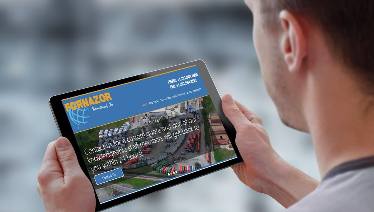 Fornazor International website on a tablet