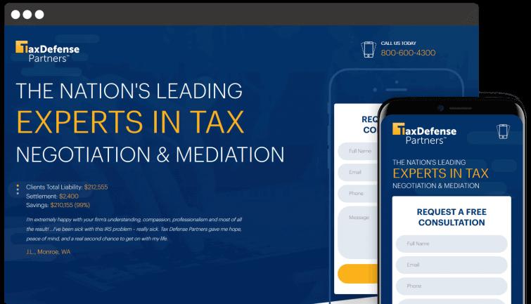 Tax Defense Partners: B2C Website Redesign