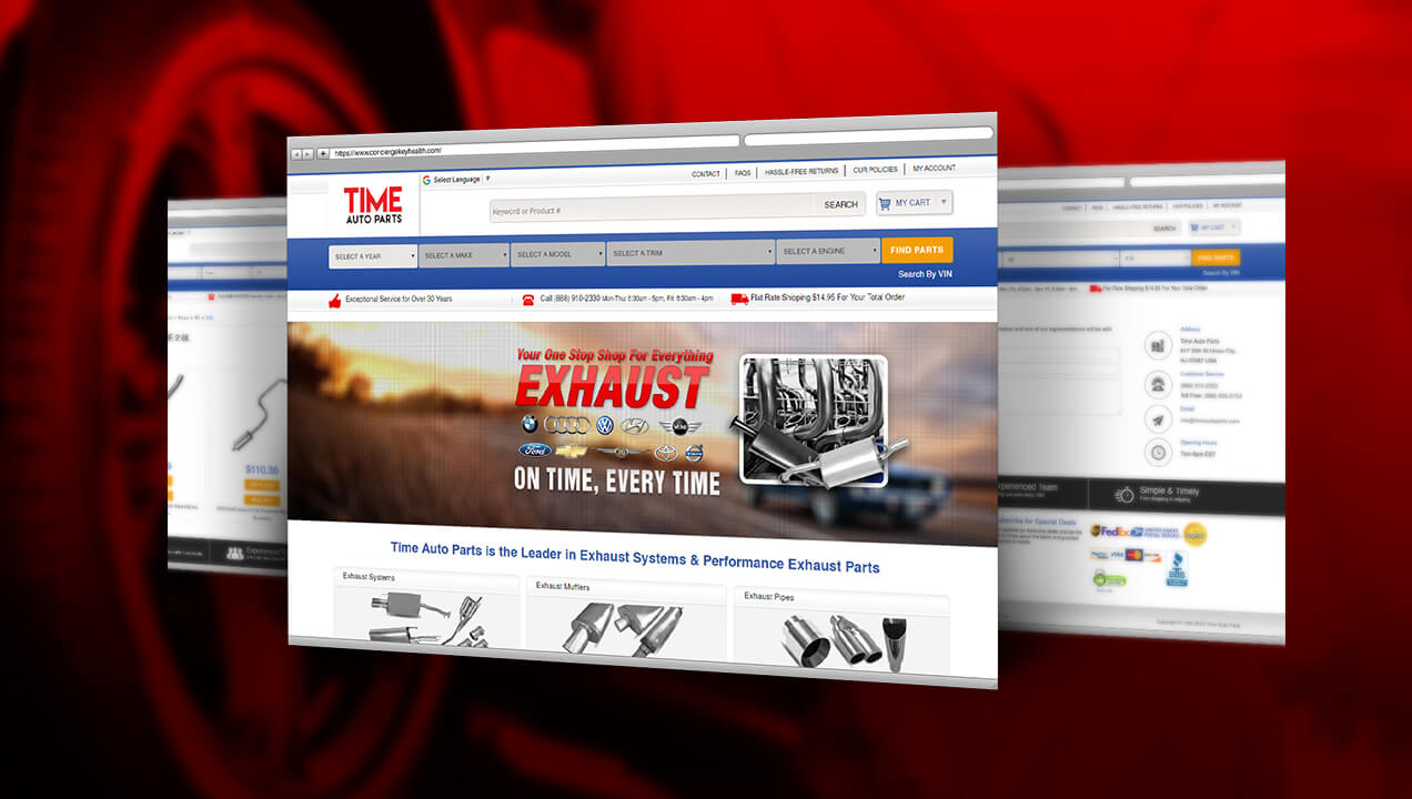 Time Auto Parts website desktop view