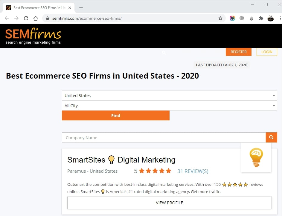 SmartSites Listed in Top Ecommerce SEO Firms
