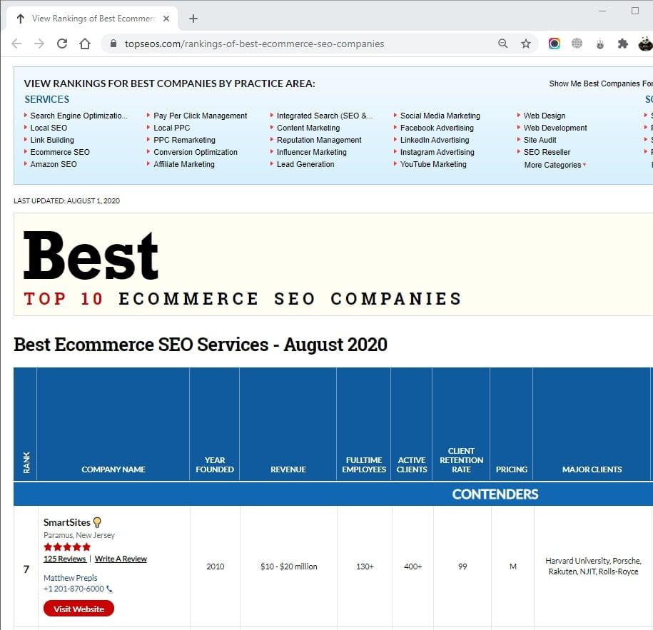 SmartSites Listed in Top Ecommerce SEO Services