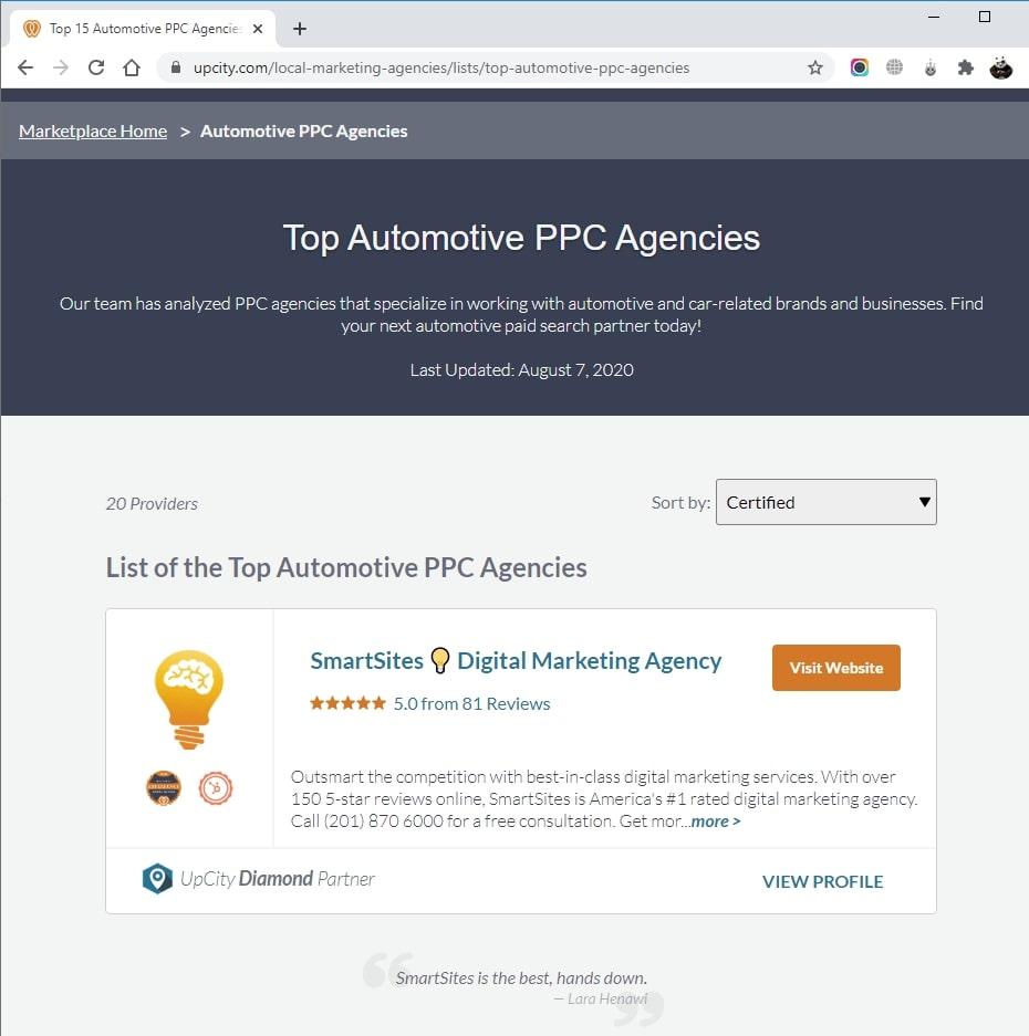 SmartSites Listed in Top Automotive PPC Agencies