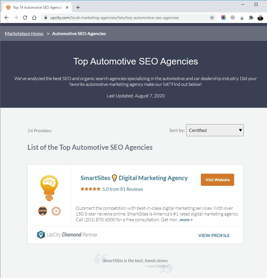 SmartSites Listed in Top Automotive SEO