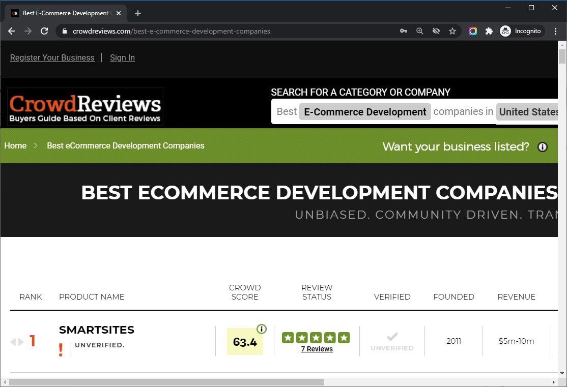 SmartSites Listed in Top Ecommerce Development