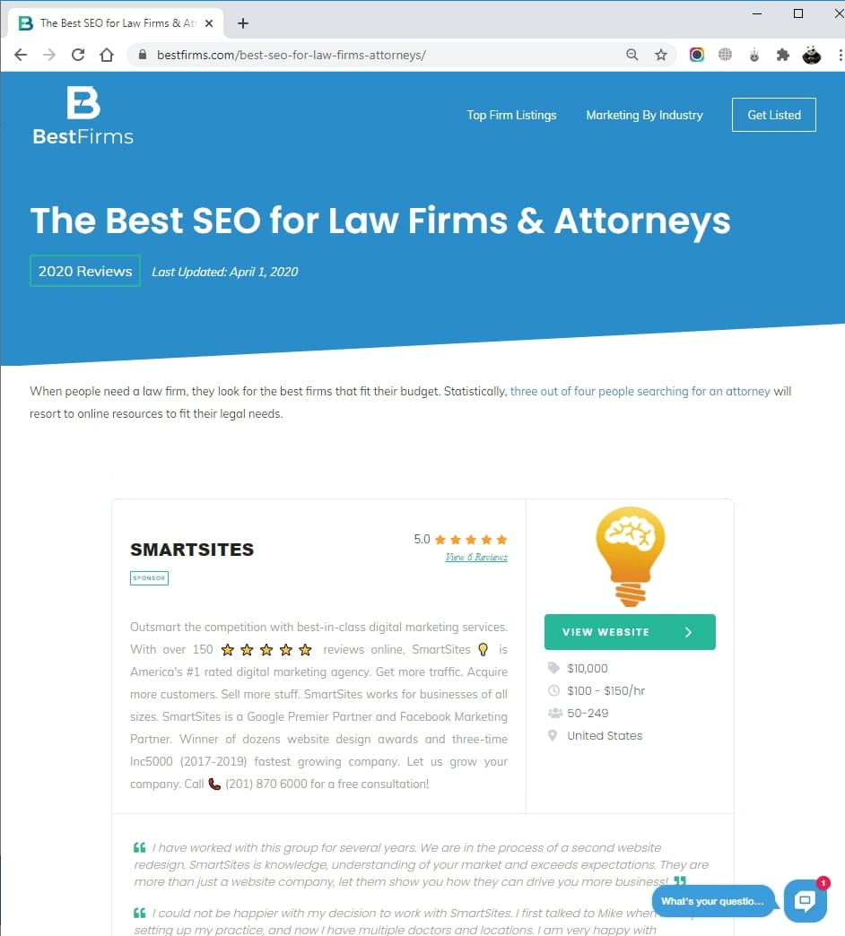 SmartSites Listed in Top Law Firm & Attorney SEO