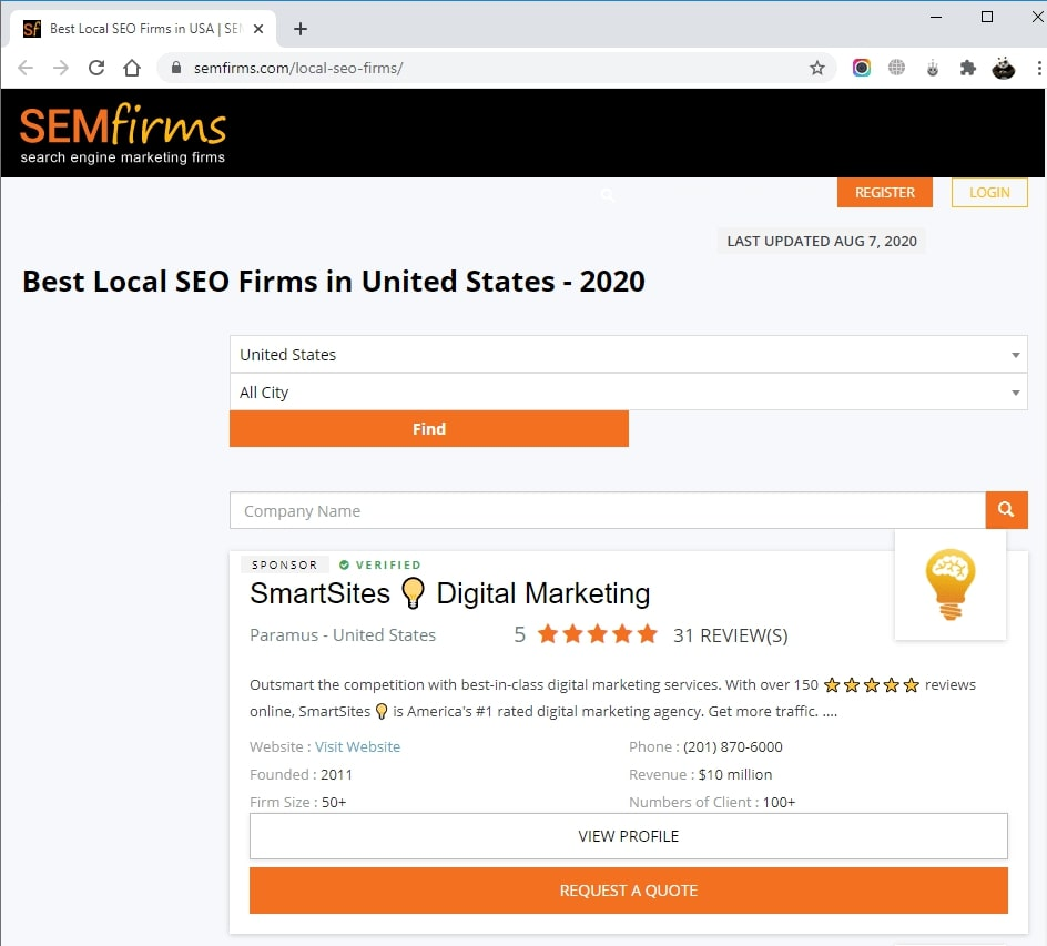 SmartSites Listed in Top Local SEO Firms