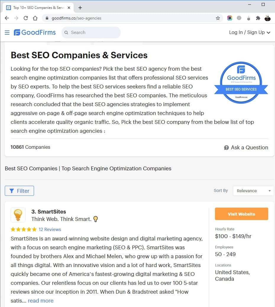 SmartSites Listed in Top SEO Agencies