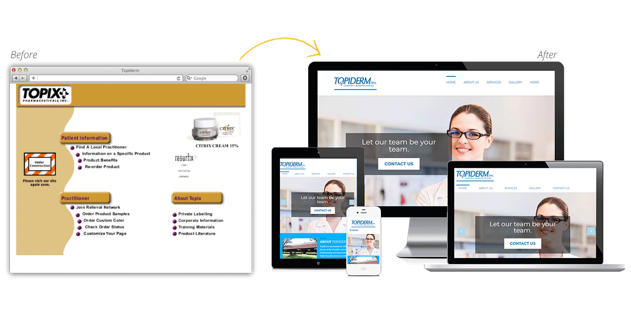 TopiDerm Website Redesign Before After