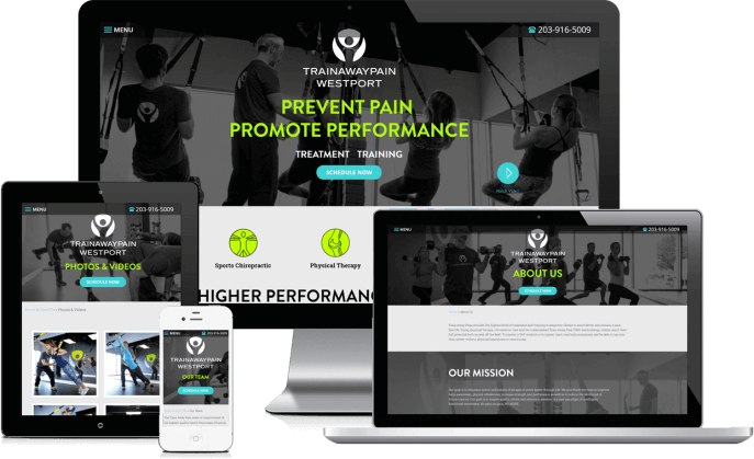 Custom website design for fitness trainers
