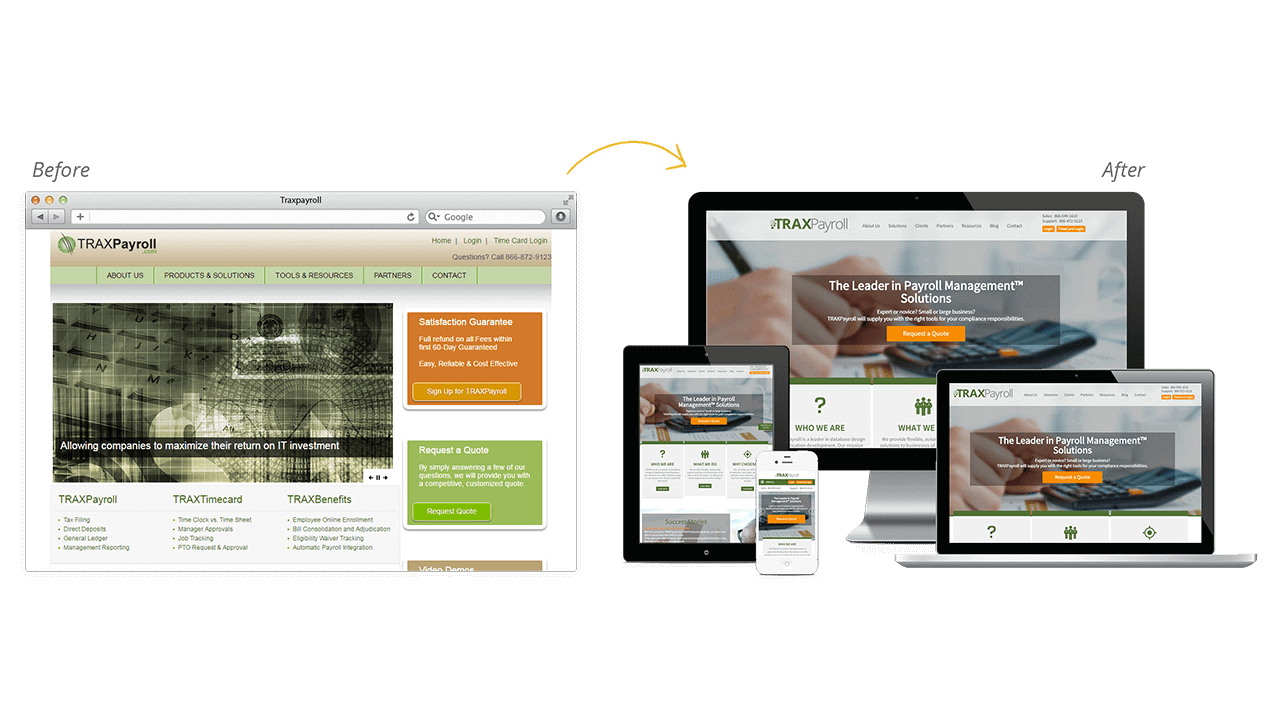 Trax Payroll Website Design Before & After