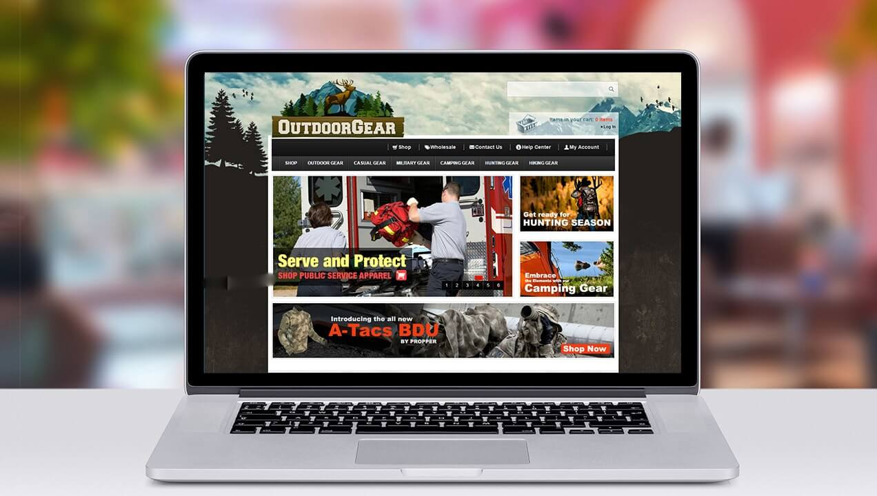 Outdoor Gear website on laptop