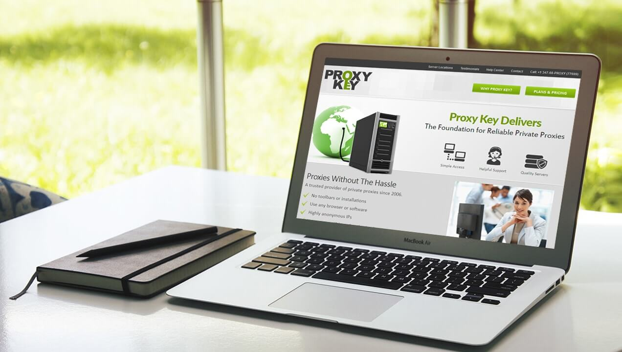 Proxy Key website on laptop