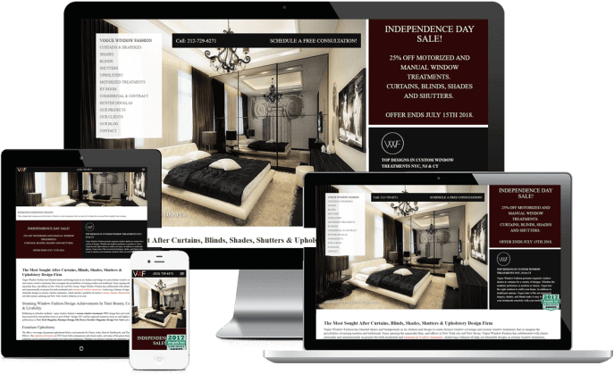 Custom website design for window treatment design