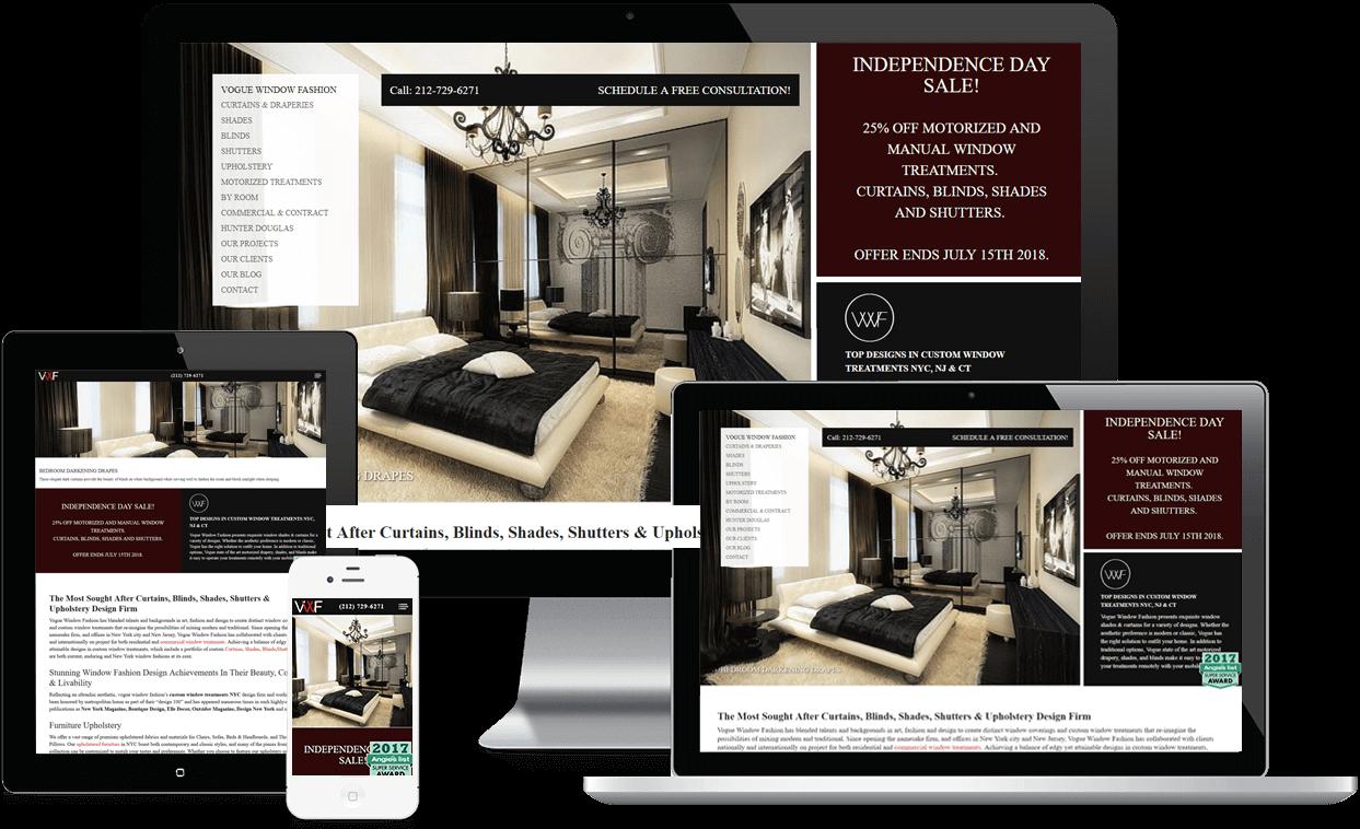 Custom Website for Vogue Window Fashion