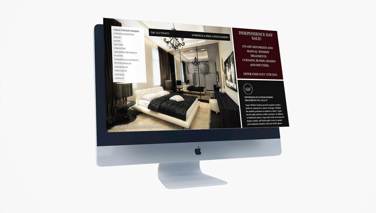 Vogue Window website on a desktop computer