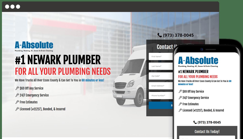 A-Absolute Plumbing web design landing page showcase