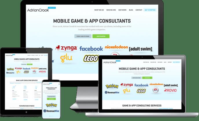 Custom website design for app game developers