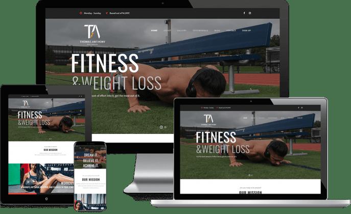 Custom website design for fitness training