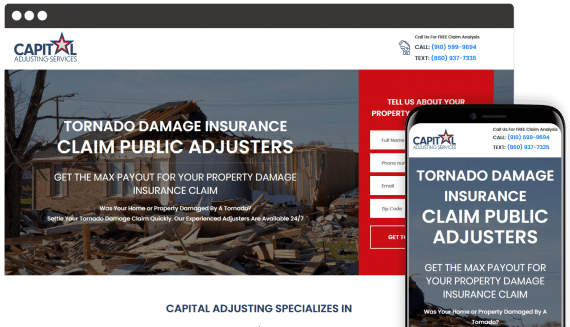Capital Adjusting Services Web Design Landing Page