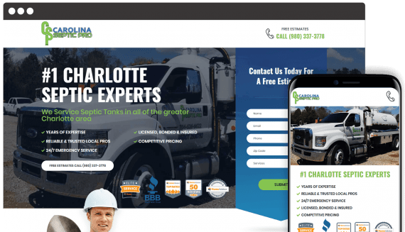 Carolina Septic Pro Web Design Landing Page