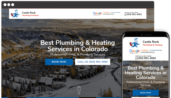 Castle Rock Plumbing & Heating Web Design Landing Page
