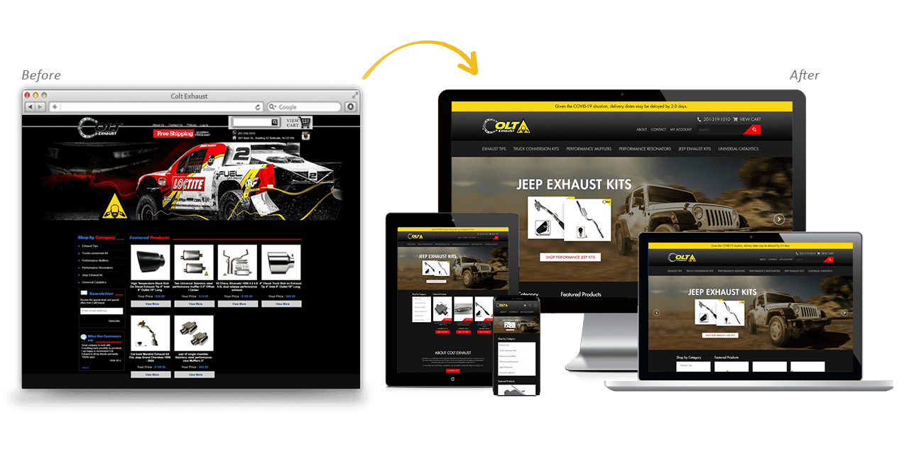 Colt Exhaust Website Redesign Before After