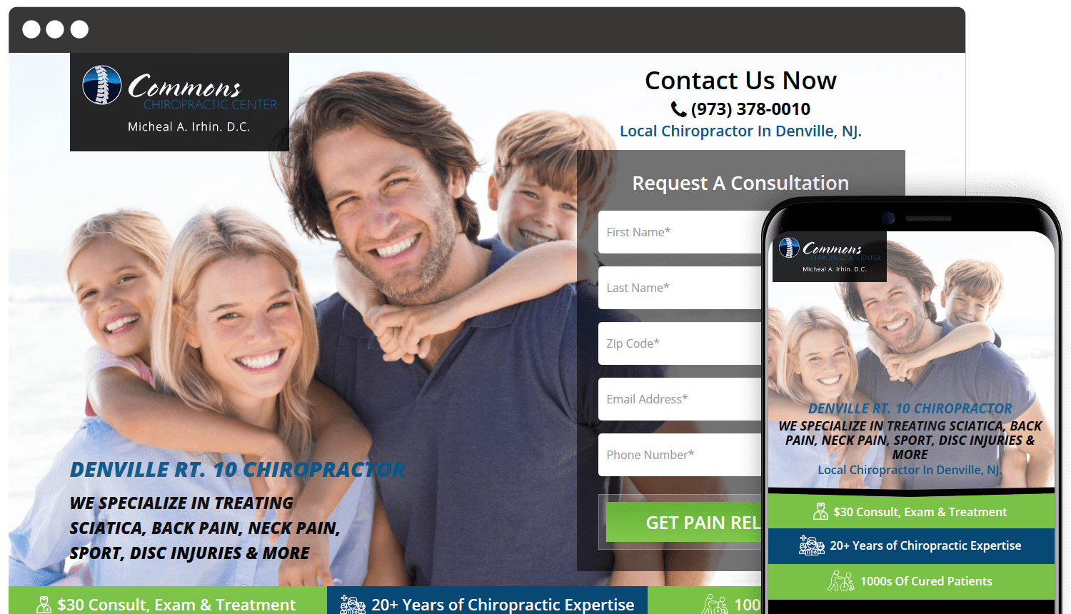 Commons Chiropractic landing page design showcase