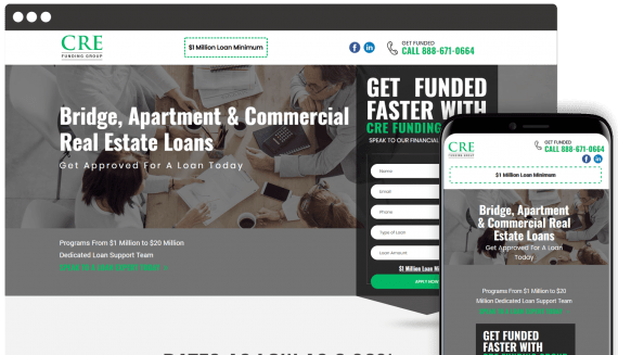 CRE Funding Group Web Design Landing Page