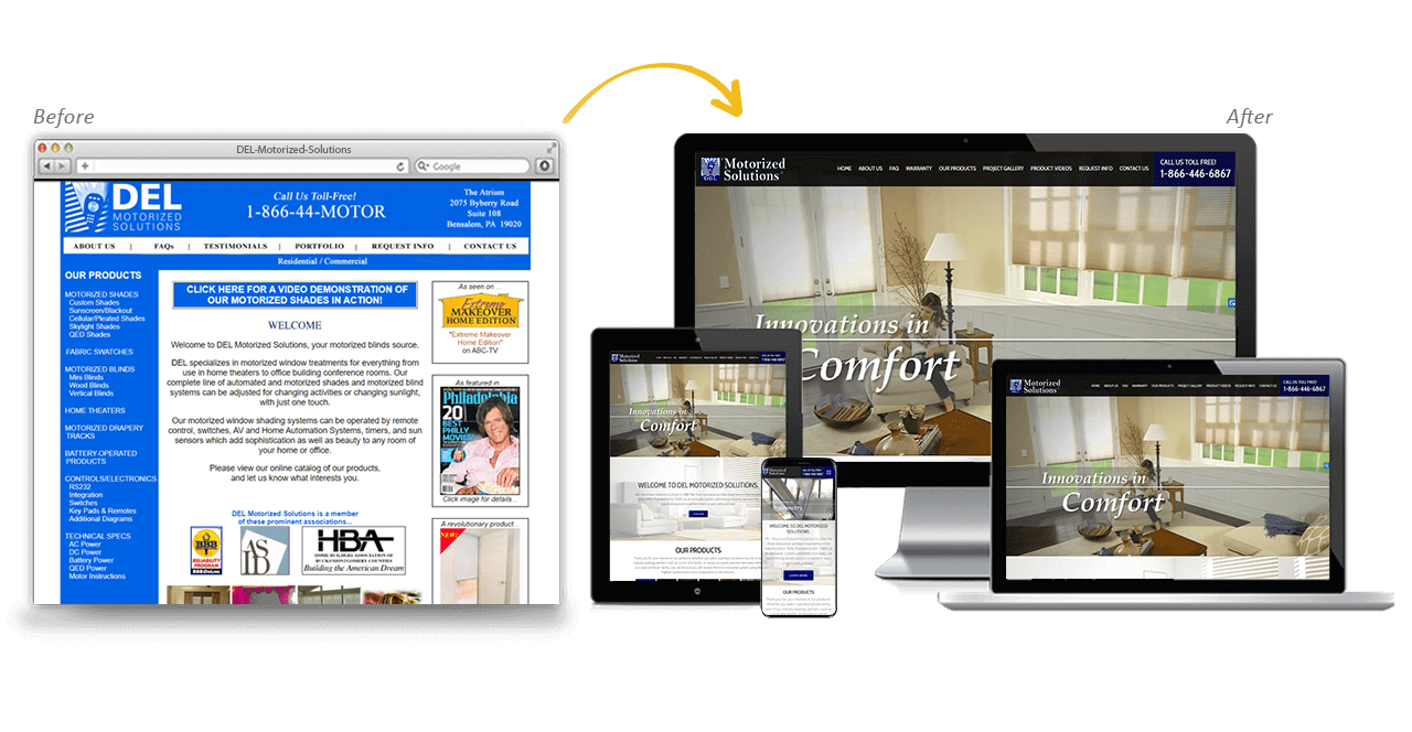 DEL Motorized Solutions Website Redesign Before After