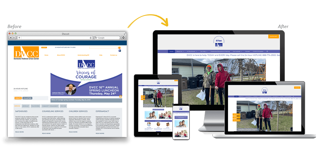 DVCCT Website Redesign Before After