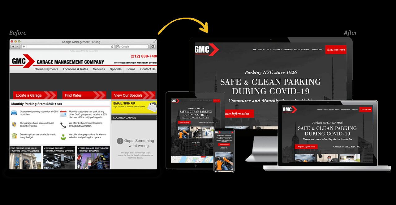 Garage Management Parking Website Redesign Before After