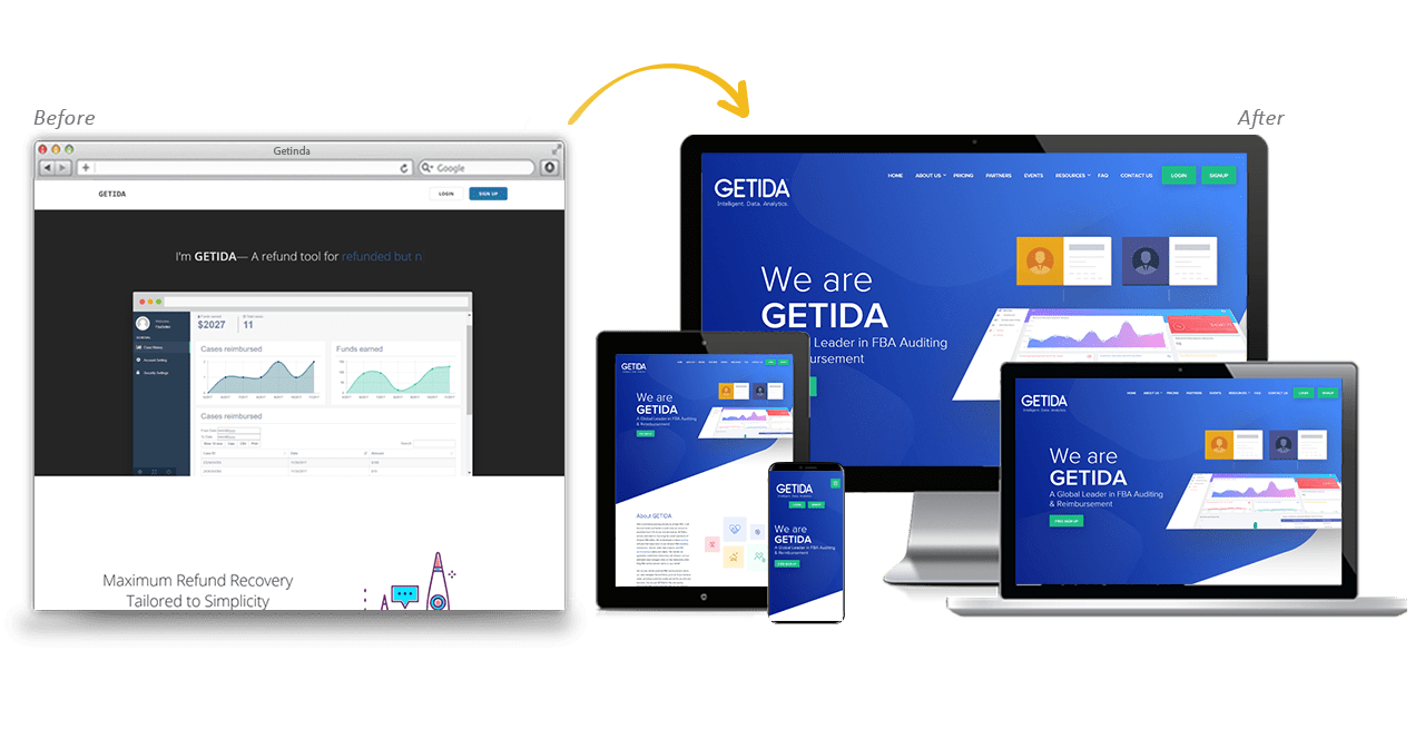 Getida Website Redesign Before After