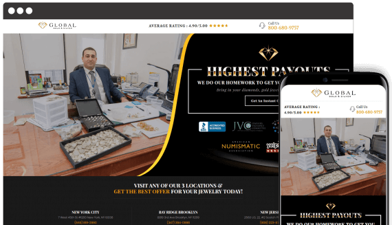 Global Gold and Silver Web Design Retail