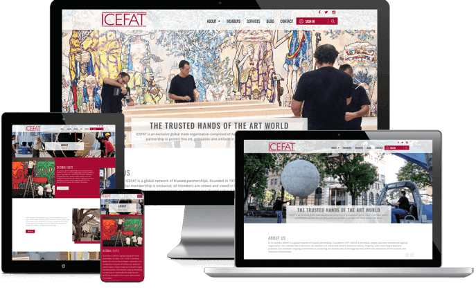 Custom website design for international art shipper organization