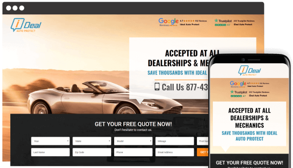 Ideal Auto Web Design Landing Page