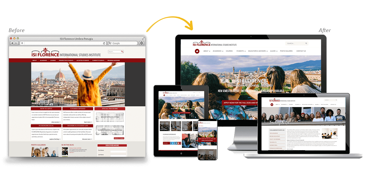 ISI Florence Website Redesign Before After