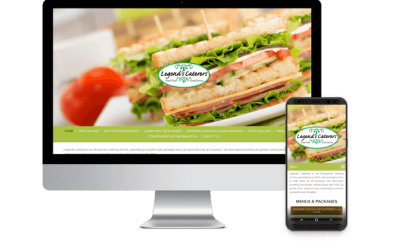 Legends Catering Web Design Hospitality