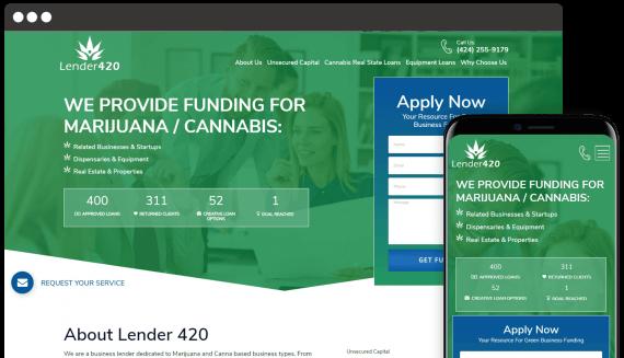 Lender 420 Web Design Custom Website